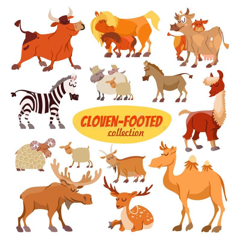 Uppsättning av clowen-footed djur för tecknad film arkivfoto