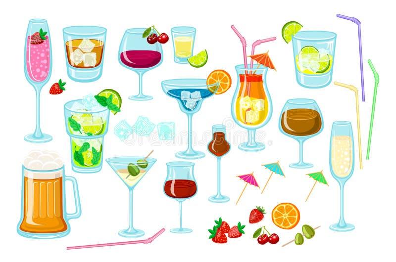 Uppsättning av coctails klassiska alkoholdrycker som isoleras på vitt bakgrundsexponeringsglas av champagne, margarita, konjak, w royaltyfri illustrationer