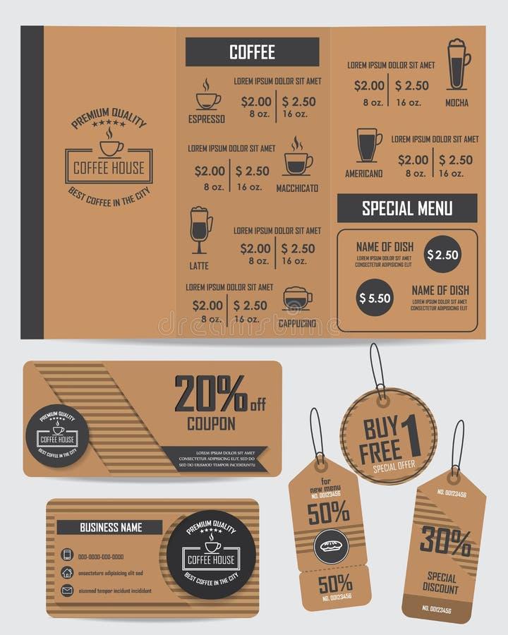 Uppsättning av coffee shopbeståndsdelar stock illustrationer