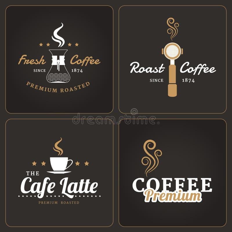 Uppsättning av coffee shopemblem och etiketter royaltyfri illustrationer