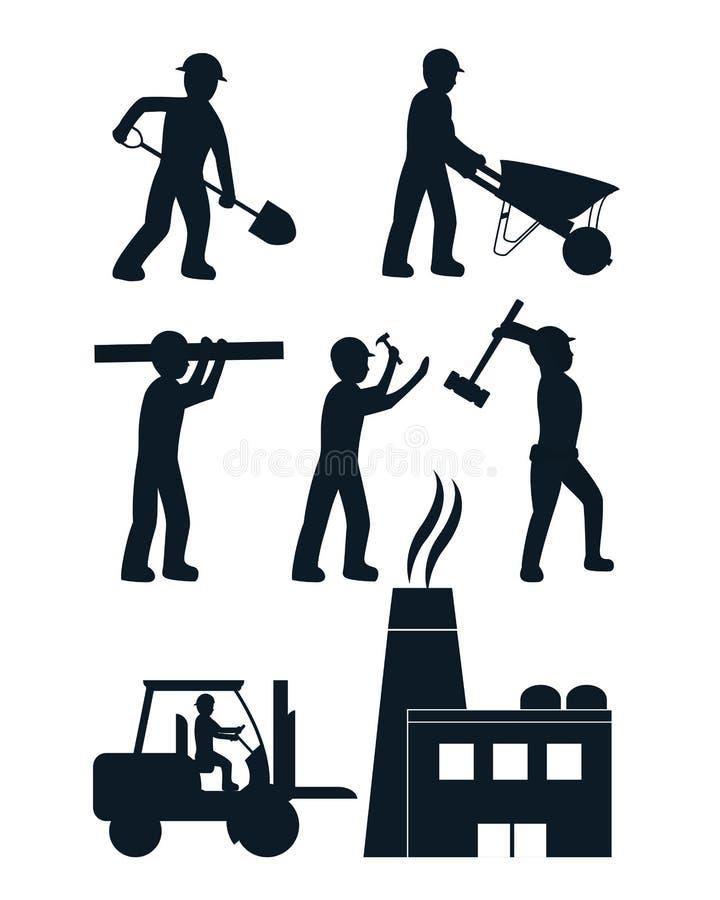 Uppsättning av contructionsymboler stock illustrationer