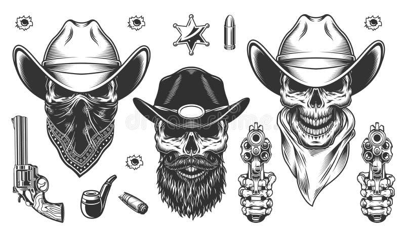 Uppsättning av cowboyer royaltyfri illustrationer