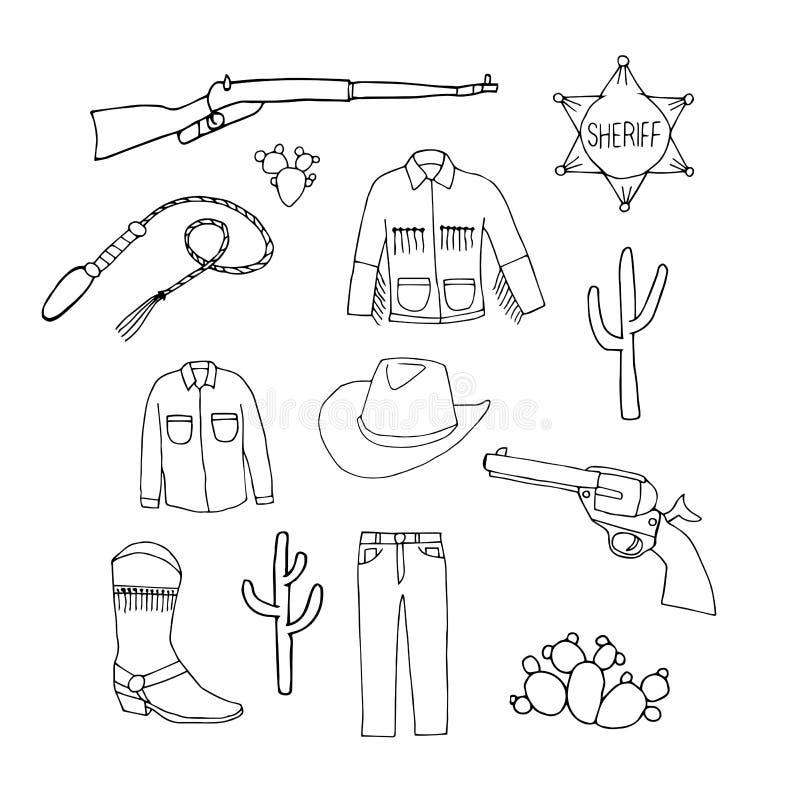 Uppsättning av cowboysymboler Cowboyjeans, skjortan, omslaget, hatt, startar vektor illustrationer