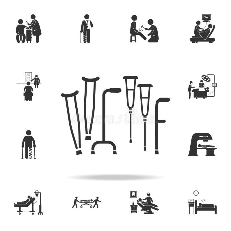 Uppsättning av crutchssymbolen Detaljerad uppsättning av medicinbeståndsdelillustrationen Högvärdig kvalitets- grafisk design En  vektor illustrationer