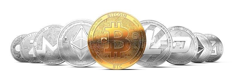 Uppsättning av cryptocurrencies med en guld- bitcoin på framdelen som den mest värdesaken arkivbild