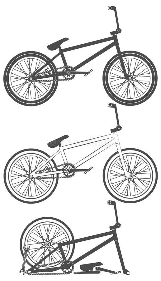 Uppsättning av cykeln, cykeldelar, hjul, kedja vektor illustrationer