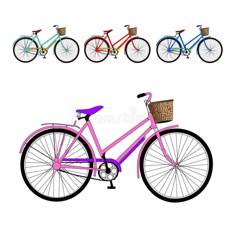Uppsättning av cyklar. Vektorillustration stock illustrationer