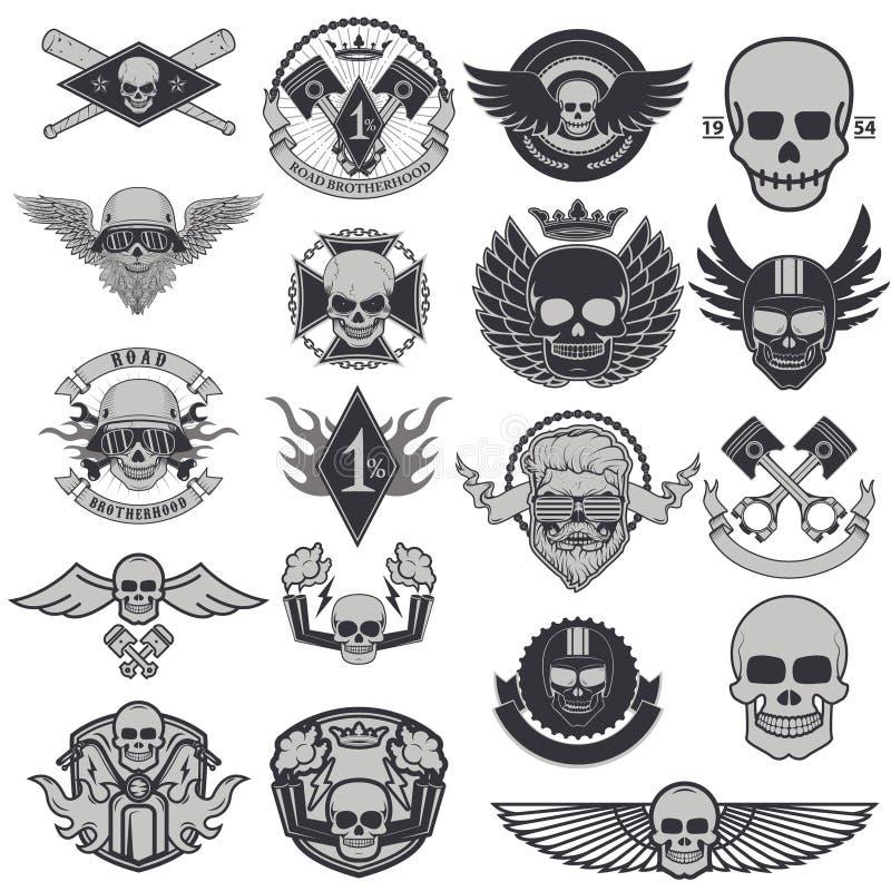 Uppsättning av cyklistetiketter och emblem royaltyfri illustrationer
