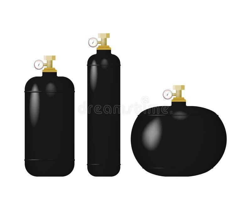 Uppsättning av cylindern med smält gas royaltyfri illustrationer