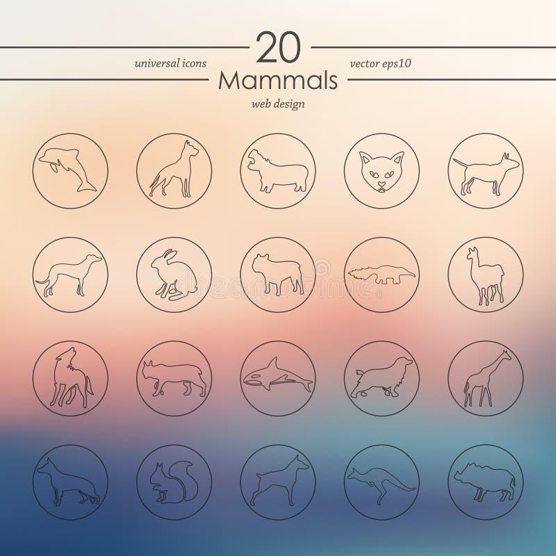 Uppsättning av däggdjursymboler royaltyfri illustrationer