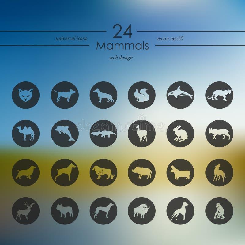 Uppsättning av däggdjursymboler vektor illustrationer