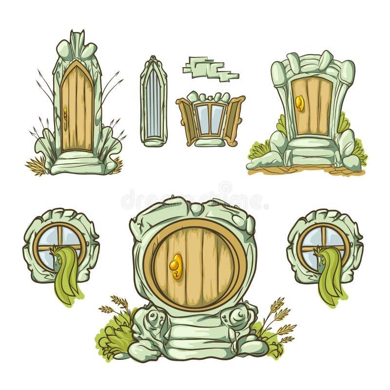 Uppsättning av dörrar och porten för tecknad film medeltida från trä bildar olikt Isolat på vitbakgrund stock illustrationer