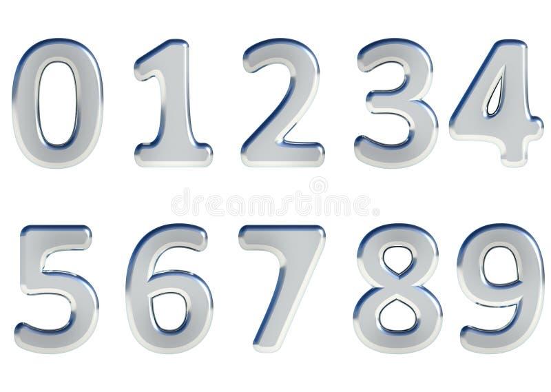 Uppsättning av 3D framförda nummer, 0-9 Försilvra glansig färg på vit bakgrund för lätt bruk stock illustrationer
