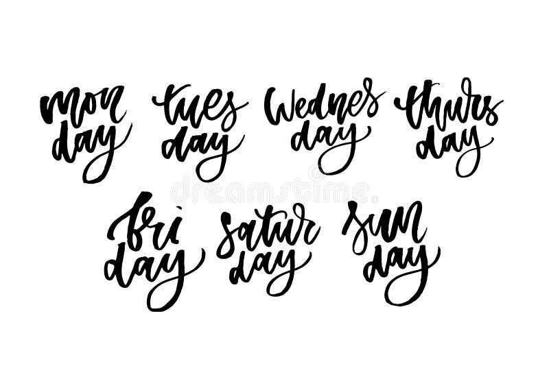 Uppsättning av dagar av en vecka Märka för affischer, kort och mer vektor Veckokalender i kalligrafistil royaltyfri illustrationer