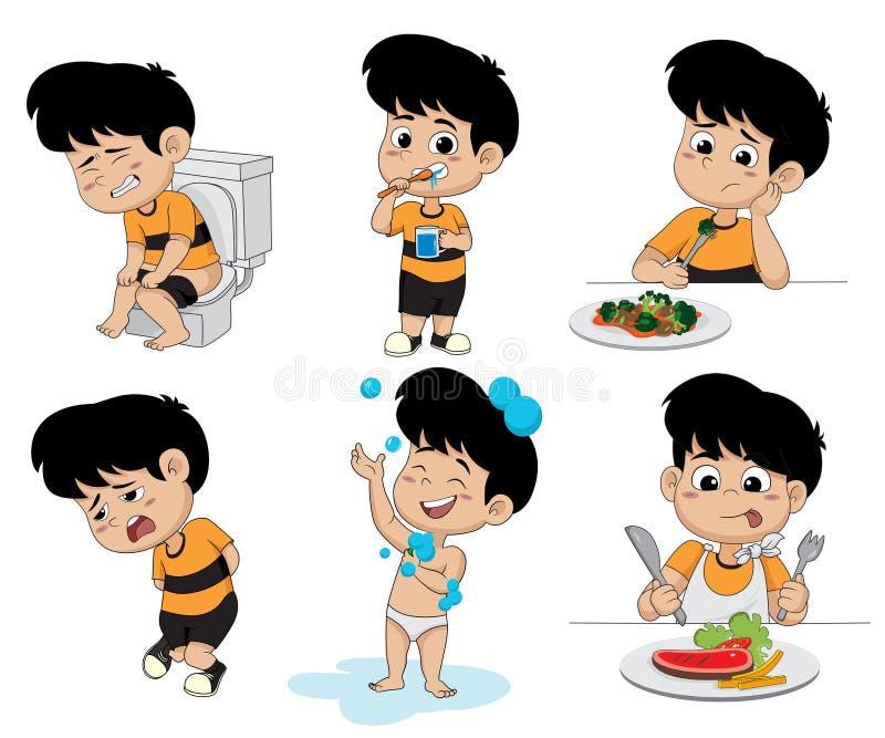Uppsättning av dagliga aktivitetsrutiner, unge som tar ett bad, rolig littl royaltyfri illustrationer