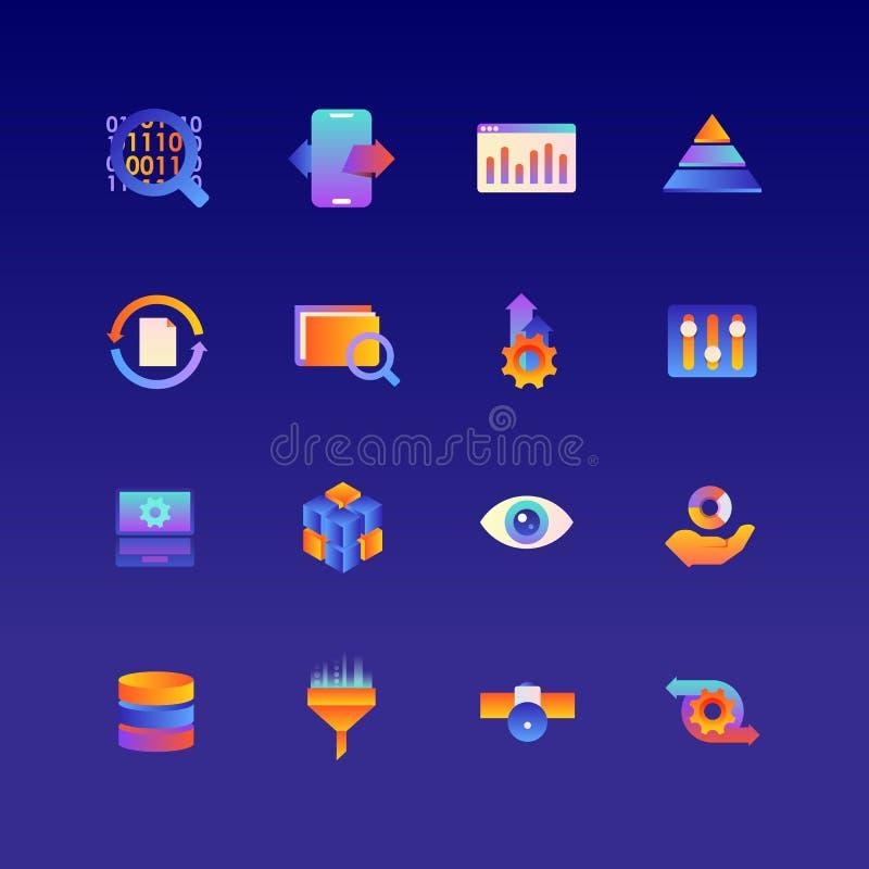 Uppsättning av data Vektorlutningsymboler Redigerbar färg 48x48 arkivfoto