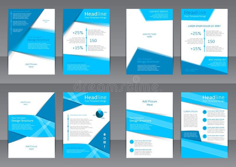 Uppsättning av de blåa och vita reklambladen, räkningen och rapporten med stället för text stock illustrationer