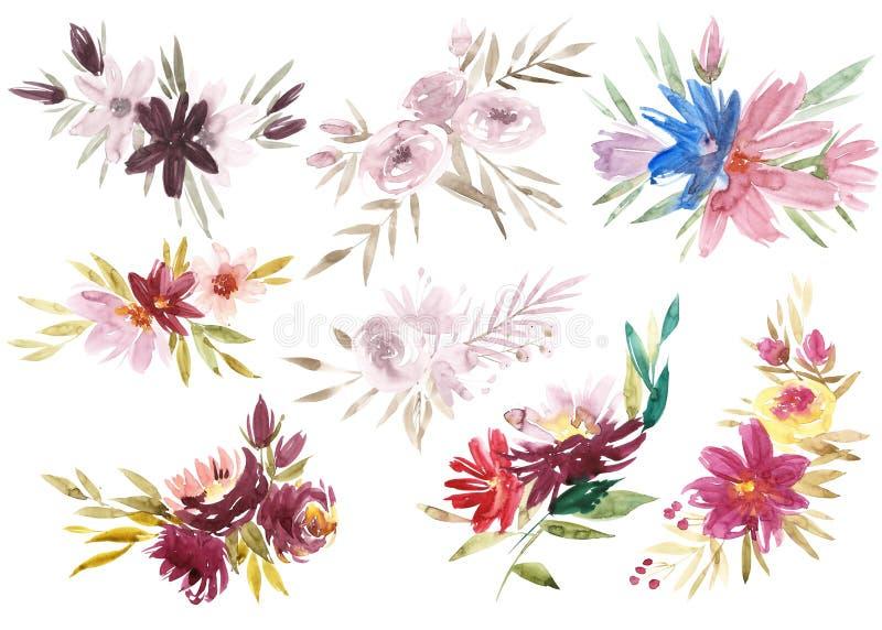 Uppsättning av de blom- ordningarna Rosa rosor och pioner med gröna sidor Blommor för vattenfärgromantikerträdgård Blomma vektor illustrationer