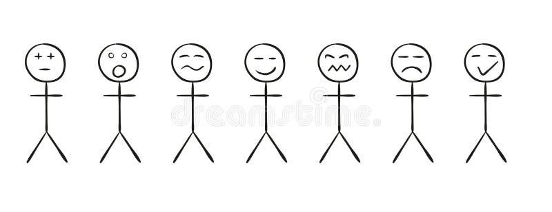 Uppsättning av de enkla personerna med olika sinnesrörelser royaltyfri illustrationer