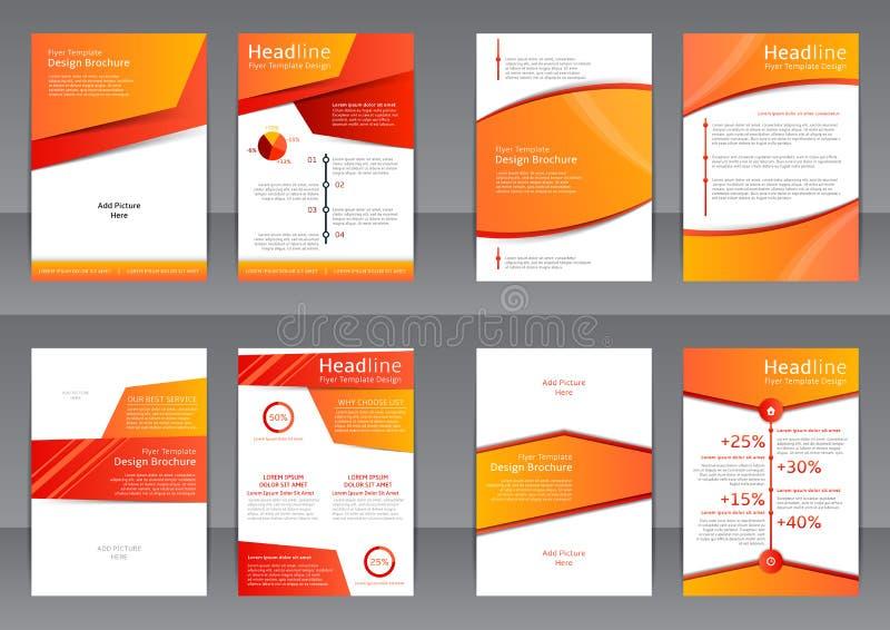Uppsättning av de orange och vita reklambladen, räkningen och rapporten med stället för text vektor illustrationer