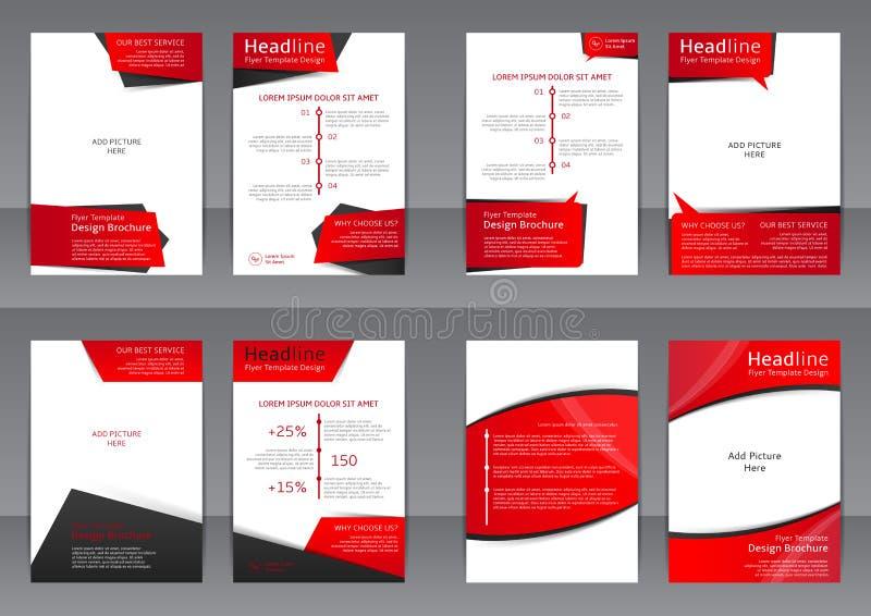 Uppsättning av de röda och svarta reklambladen, räkningen och rapporten med stället för text royaltyfri illustrationer