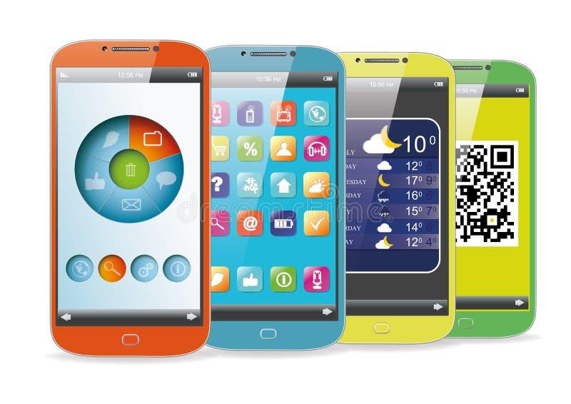 Uppsättning av de smarta telefonerna för färg vektor illustrationer