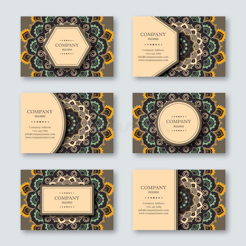 Uppsättning av dekorativ hand drog mandalakort, affär som besöker t vektor illustrationer