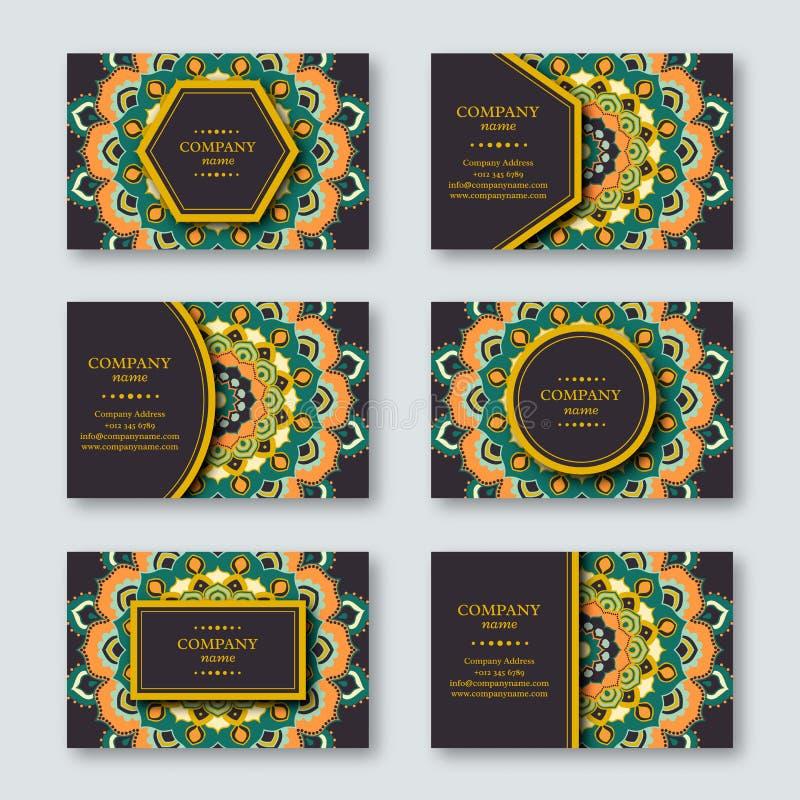 Uppsättning av dekorativ hand drog mandalakort, affär som besöker t royaltyfri illustrationer
