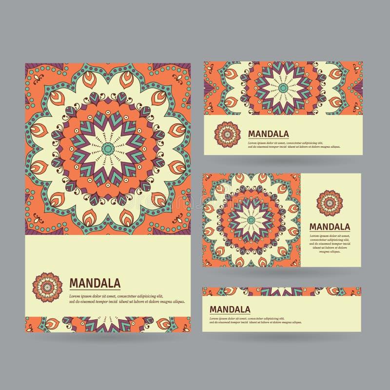 Uppsättning av dekorativa affärskort med blommamandalaen i apelsin, royaltyfri illustrationer