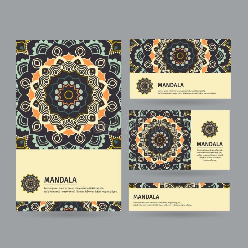 Uppsättning av dekorativa affärskort med blommamandalaen i mörk sänka vektor illustrationer