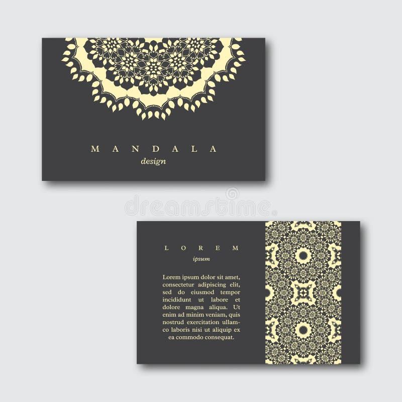 Uppsättning av dekorativa affärskort med den hand drog mandalaen stock illustrationer