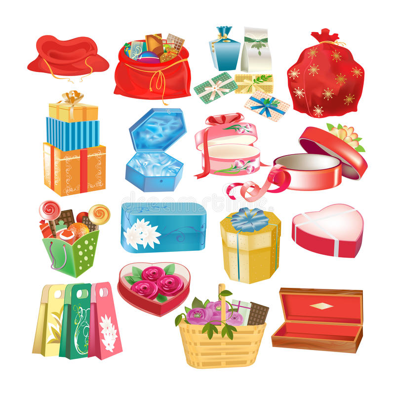 Uppsättning av dekorativa askar för gåva, packar och fall, med gåvor royaltyfri illustrationer