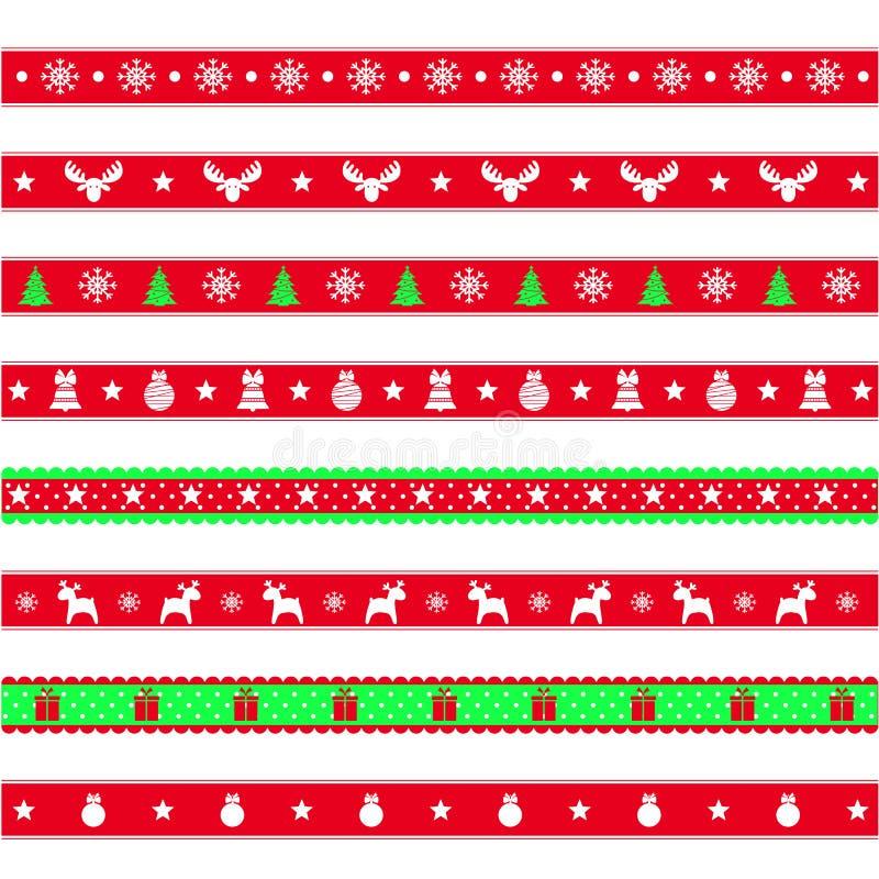 Uppsättning av dekorativa band med snöflingor, symbol av det nya året och jul, vektorillustration vektor illustrationer