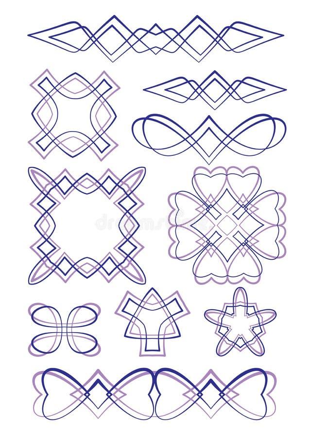 Uppsättning av dekorativa beståndsdelar för vektor vektor illustrationer