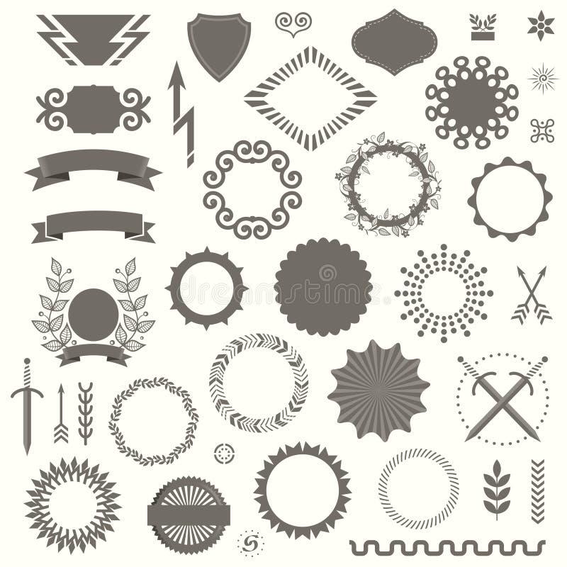 Uppsättning av dekorativa beståndsdelar för vektor i Art Deco Vintage Style royaltyfri illustrationer