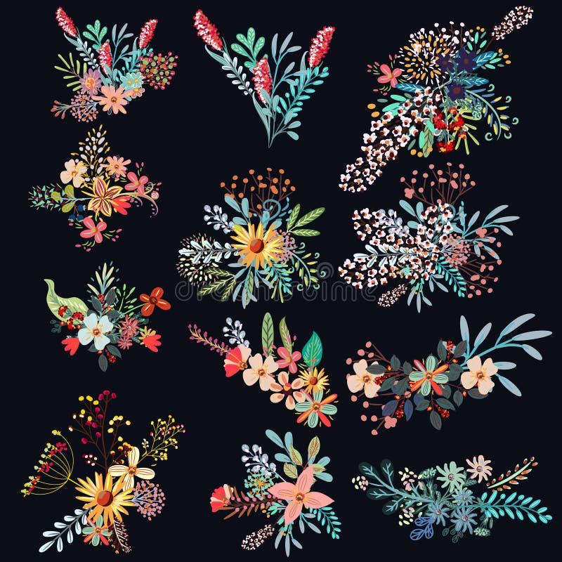 Uppsättning av dekorativa blommor för vektor royaltyfri illustrationer