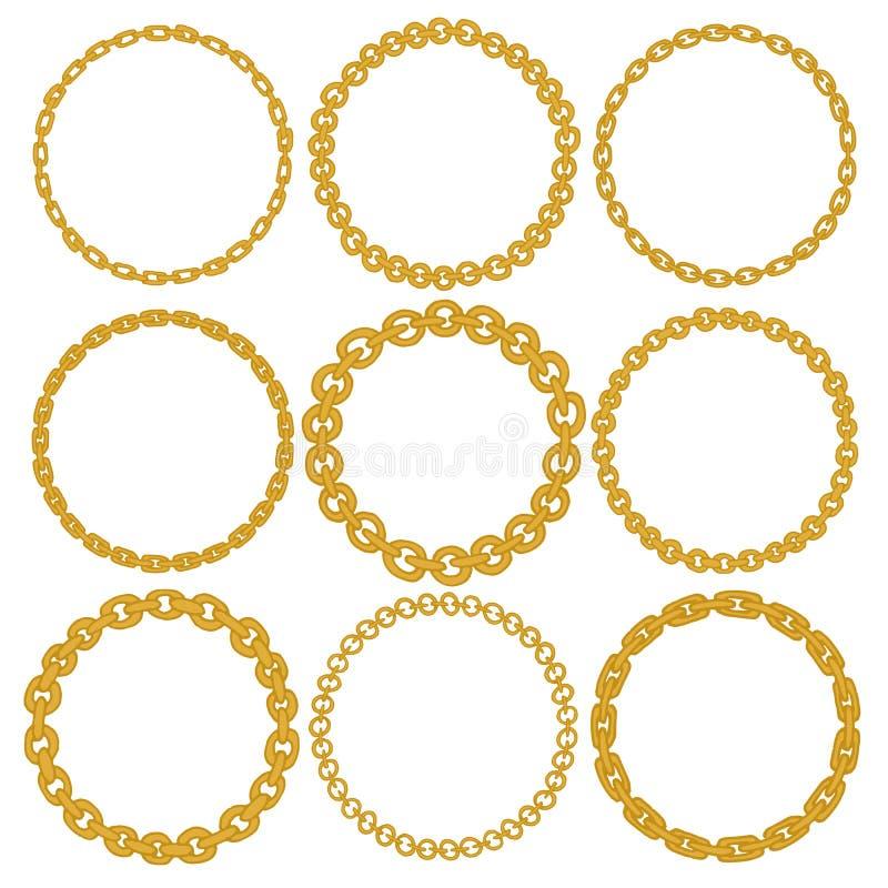 Uppsättning av 9 dekorativa cirkelgränsramar stock illustrationer