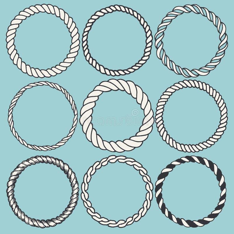 Uppsättning av 9 dekorativa cirkelgränsramar royaltyfri illustrationer