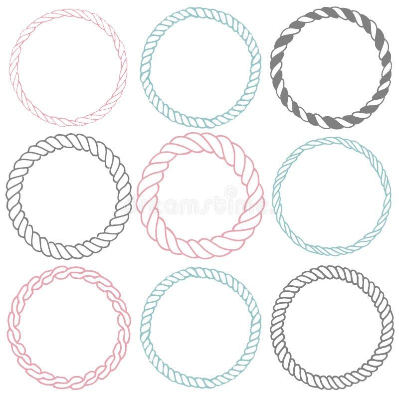 Uppsättning av 9 dekorativa cirkelgränsramar vektor illustrationer