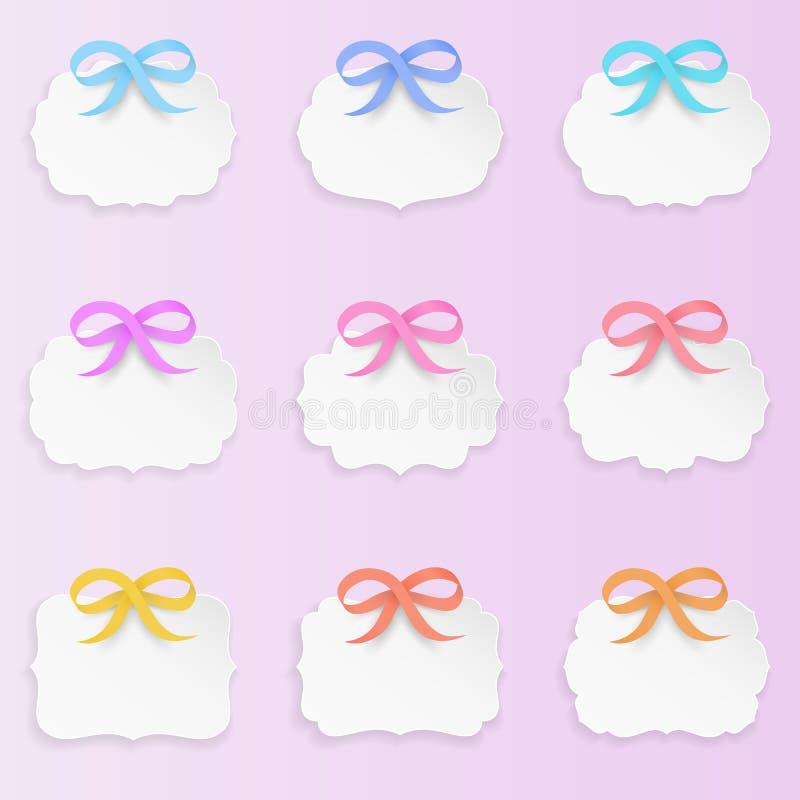 Uppsättning av 9 dekorativa eleganta pappers- formetiketter med pilbågar Rengöring och minsta design, mjuka pastellfärgade färger stock illustrationer