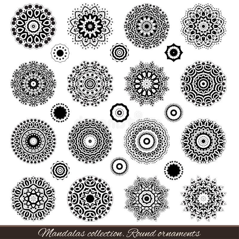 Uppsättning av dekorativa etniska mandalas Översiktsisolatprydnad Vektordesign med islam, indier, arabiska motiv stock illustrationer