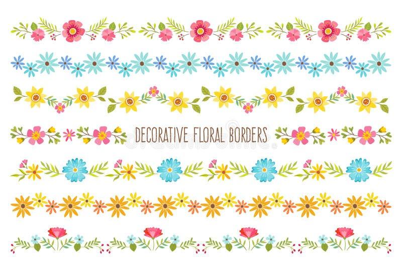 Uppsättning av dekorativa färgrika blom- gränser vektor illustrationer