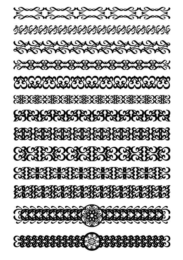 Uppsättning av dekorativa gränser för art déco i svart vit, tappningprydnad för boken, broschyr, affisch, meny, inbjudan, eps 10 stock illustrationer