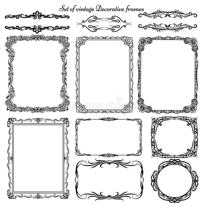 Uppsättning av dekorativa gränser och ramar för tappning royaltyfri illustrationer