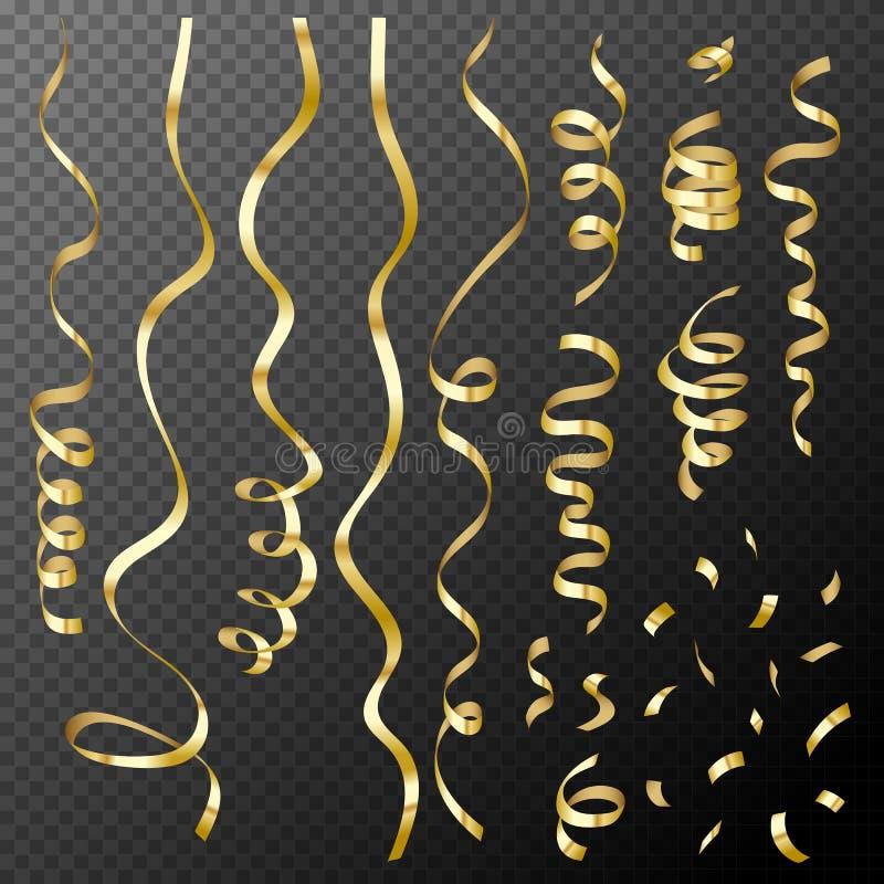 Uppsättning av dekorativa guld- konfettier och band på genomskinlig backg vektor illustrationer