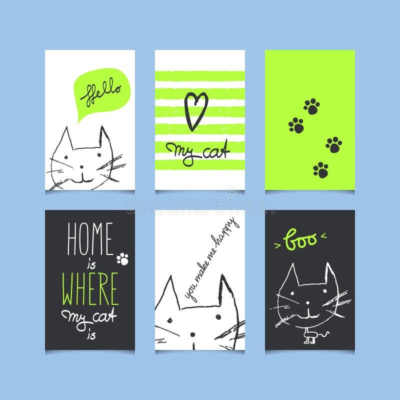 Download Uppsättning Av Dekorativa Hälsningkort Med Katter Vektor Illustrationer - Illustration av hälsningar, katter: 78729403