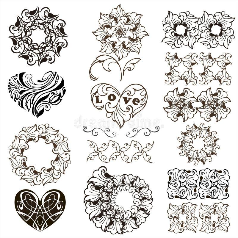 Uppsättning av dekorativa hjärtor, beståndsdelar för blom- design, gränser som isoleras på vit bakgrund royaltyfri illustrationer