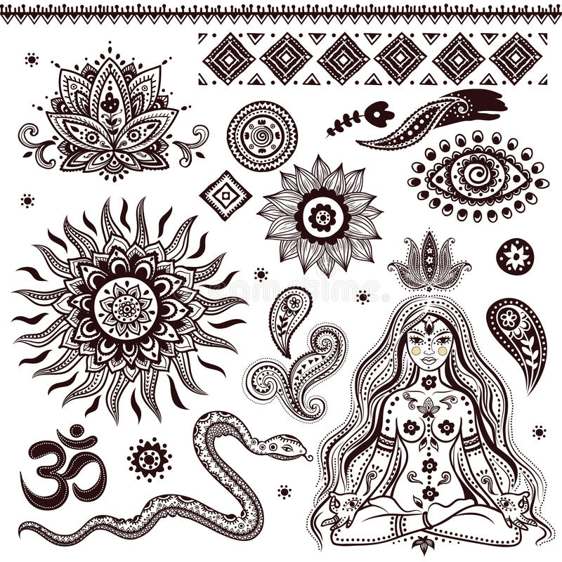 Uppsättning av dekorativa indiska beståndsdelar och symboler vektor illustrationer