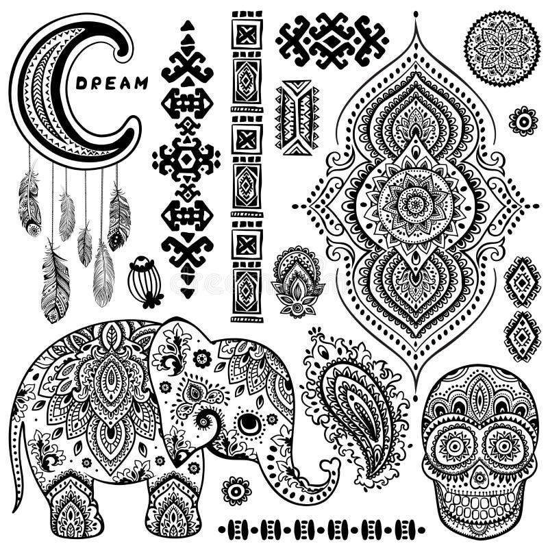 Uppsättning av dekorativa indiska symboler elefantperson som tillhör en etnisk minoritet stock illustrationer