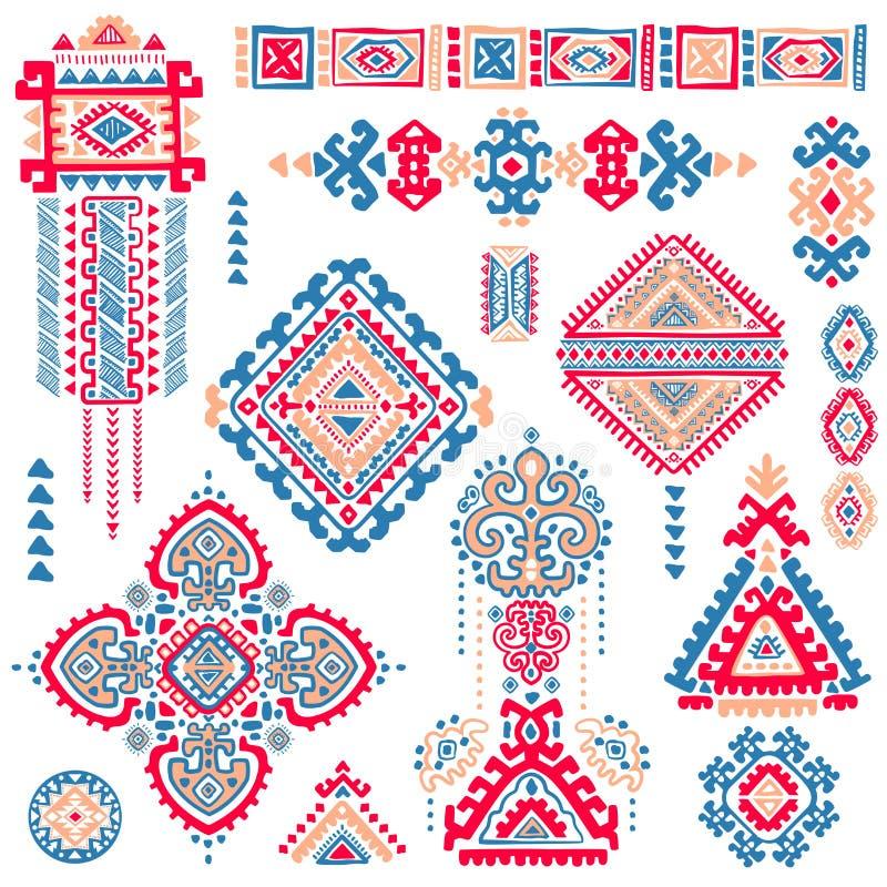 Uppsättning av dekorativa indiska symboler elefantperson som tillhör en etnisk minoritet royaltyfri illustrationer